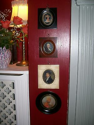 4 Assorted Miniature Portraits All Different Glazed Frames Antique Design