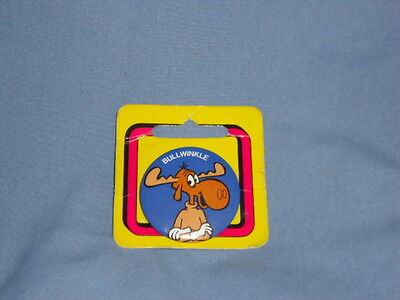Cartoon Character Bullwinkle Moose 1984 Button Vtg Pin Pinback On Card Nos Rocky