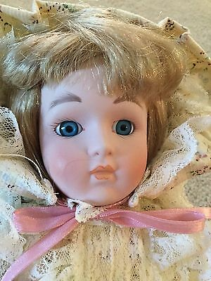 "Our Own Imports Ceramic and Cloth Doll with Stand Blonde Hair Cream Dress 15"" Ta"