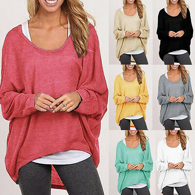 Womens Oversized Loose Long Sleeve Shirt Ladies Baggy Tops Blouse Batwing Jumper