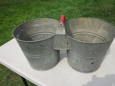 Vintage Double Galvanized Steel Bucket~Red Handle
