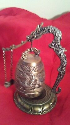 4 1/2 inch  Oriental Asian Chinese Bell Dragon Handle Cast Iron