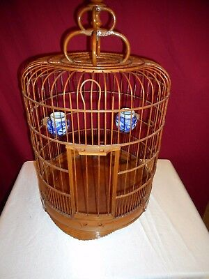 Vintage Asian Bamboo Birdcage With Chinese Porcelain Feeding Bowls - Nice Find!