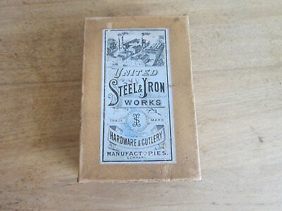 Vintage Advertising United Steel and Iron Works Cutting Nippers Antique Card Box