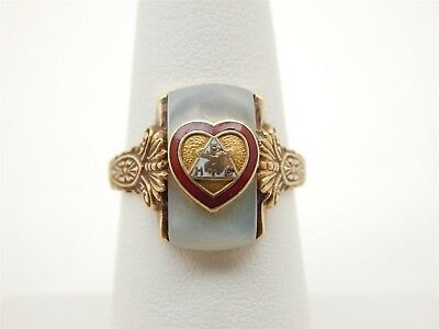 Vintage Loyal Order Moose Ring Heart Fraternal Emblem 10K Gold Sz. 6 1/4