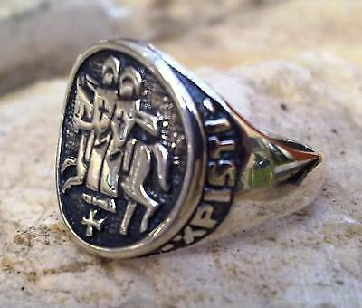 Solid Sterling Silver 925 THE SEAL OF KNIGHTS TEMPLAR MASONIC RING