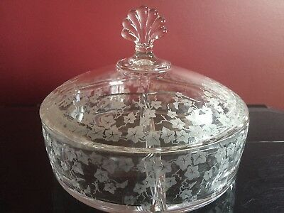 Cambridge Glass Ye Olde Ivy 3 Part Candy Dish Jar W/ Lid Covered VERY RARE