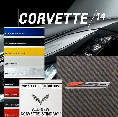 2014 Stingray Corvette Lt1 Book + 2015 Z06 Lt4 Brochure + Chart - Chevrolet Z51