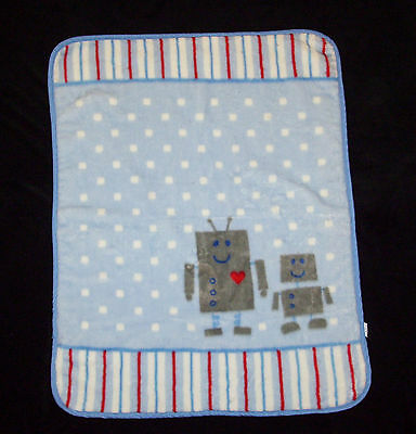 Luvable Friends Blue Robot High Pile Baby Toddler Blanket 30x40