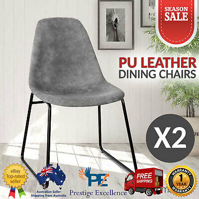 2X Dining Chairs Leather Foam Padded Retro Vintage Home Office Kitchen Seat Grey