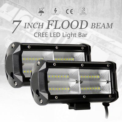 2x 7INCH 400W CREE LED Work Light Bar TRI-ROW Flood Offroad 4WD Lamp Boat 6""