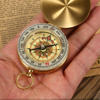 Outdoor Compass Camping Hiking Portable Brass Pocket Golden Double Display NEW