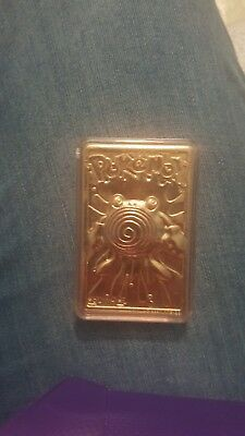 Pokemon 23k gold plated Poliwhirl card Nintendo 1999 In Protective Case