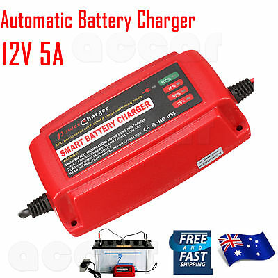 Smart Battery Charger Automatic 4 Stage 12V 5A Car Caravan Motorcycle AU Plug