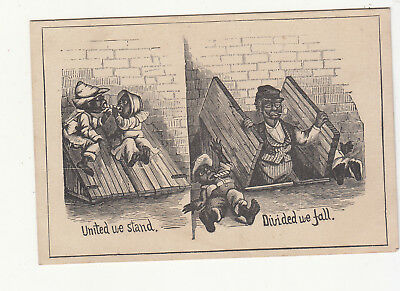 United We Stand Divide We Fall Black Americana  No Advertising Vict Card c1880s