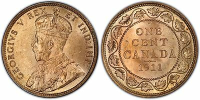 Canada 1911 Large Cent PCGS MS64RD