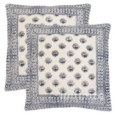 Indian 2Pc Kilim Cottonug Hand Block Print Cushion Cover Outdoor Ethnic Pilllow