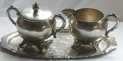 5th Ave Antique Silverplate Lidded Sugar- Creamer & Tray Set Ships Free to USA