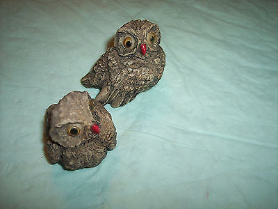 Vintage - Resin Owls With Moveable Eyes