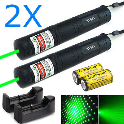 2 X 10Miles 532nm Green Laser Pointer Lazer Pen Visible Beam Light+14500+Charger