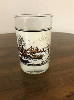 """Vintage Currier  And Ives Arby Drinking Glass 1981 """"american Farm In Winter"""""""