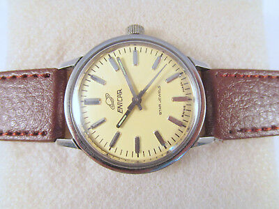 Vintage Enicar Star Jewels Hand-Winding Yellow Dial Swiss Made Wrist Watch #x13