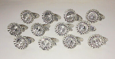 12 Vtg SILVER Metal PINECONE Clip On Xmas Candle Holders GREAT SHINY UNUSED COND