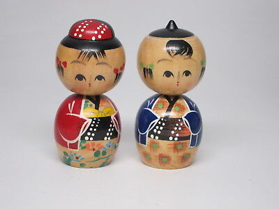 Pair of 2 Red Blue Vintage Kokeshi Wood Doll Traditional style Painted Old Man