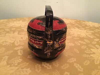 Antique Chinese Black/Red/Gold 3 Tier Handpainted/Lacquered Wedding Basket
