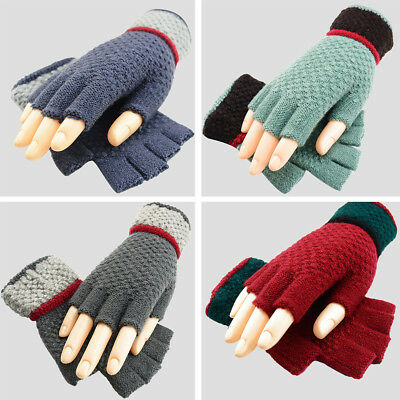 1 Pair Winter Outdoor Black Mens Fingerless Gloves Men Knitted Stretch Elastic Warm Half Finger Gloves Autumn Winter Fashion Back To Search Resultsapparel Accessories
