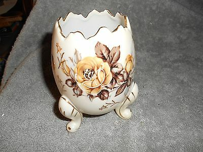 Napco Ware Porcelain Painted Gold Trim Brown Roses Footed Egg
