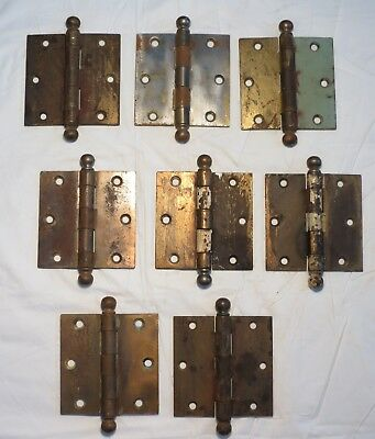"1 Stanley Sweetheart 3 1/2"" brass plated / Patina Cannonball Door Hinges 8 avail"