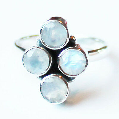 925 Solid Sterling Silver Faceted Semi-Precious Moonstone Ring - Size 8