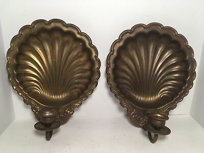 Vintage Pair Brass Scalloped Clam Sea Shell Wall Sconce Candle Holder 11.25""