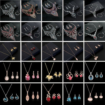 Fashion Women Crystal Necklace Earrings Bridal Wedding Party Prom Jewelry Sets