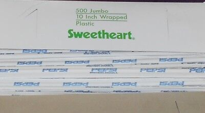 """100 Pepsi Cola 10"""" Straws Logo On Outer Paper Only Sweetheart Company 100 Total"""