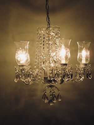 Italian Crystal Chandelier c1950 Vintage Antique Glass Ceiling Light