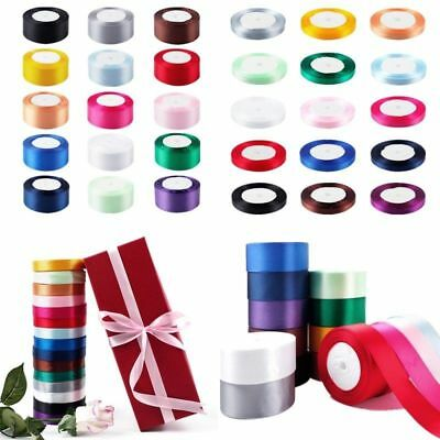 DIY Ribbon 25 Yards Satin Wedding Party Decoration Craft Sewing Many 15 Colors
