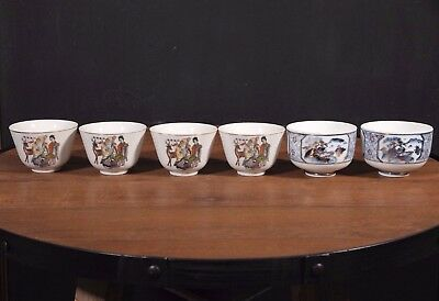 Mix Match Japanese Cups 6 Porcelain Blue Gold Fable Sake or Tea Made in JAPAN