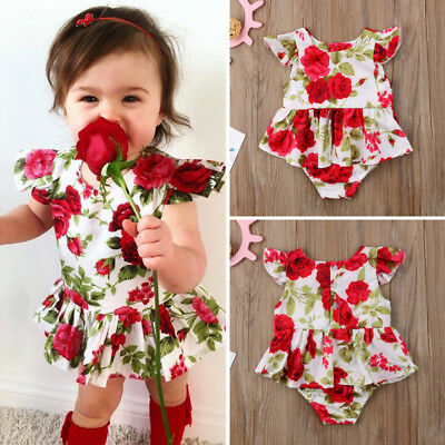Newborn Baby Girl Floral Ruffle Romper Jumpsuit Bodysuit Clothes Summer 0-18M US