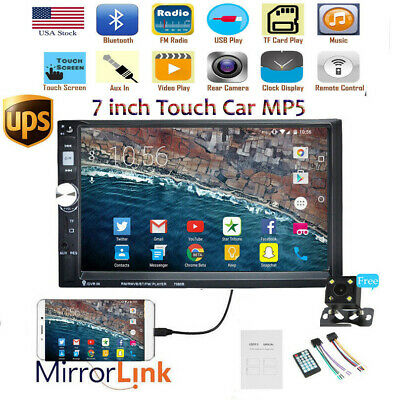"""7"""" 2DIN Car Stereo Radio Bluetooth Head Unit MP5 Player Mirror Link Touch+Camera"""
