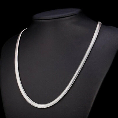 """4mm Charm Men Women Stainless Steel Silver Tone Snake Necklace 19.65"""" Link Chain"""