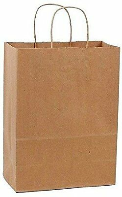 Brown Paper Grocery Bags Handles Kraft Shopping Retail Large Lot Eco Friendly 50
