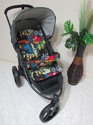 Pram liner set,universal,100% cotton/cotton padding-Monsters-Funky babyz