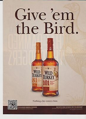 2011 Mint Print Ad Poster Wild Turkey Give 'em the Bird