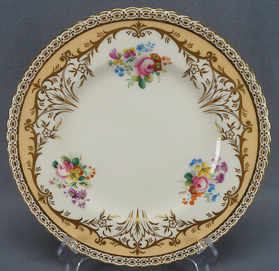 Pair of Minton Hand Painted 2172 Floral & Gold Gilt Dinner Plates C. 1891 - 1920