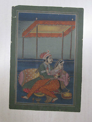 Old Or Antique Look Mughal Style Miniature  Painting Stone Colors On Paper