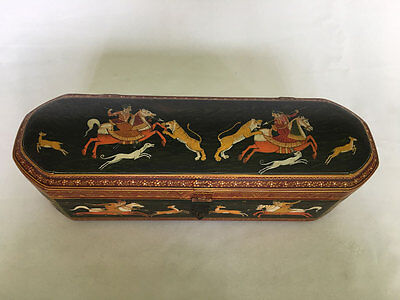 An Antique Or Vintage Or Old Look Hand Carved Painted Wooden Pencil Box