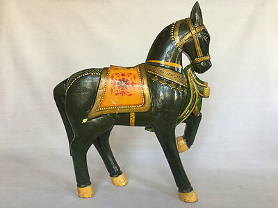 Vintage Look Hand Carved Hand Painted Wooden Fine Horse Statue