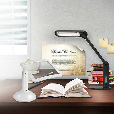 New Handsfree 3X Magnifier 2 LED Magnifying Lens Desk Table Light Reading Lamp~